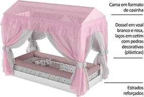 Mini Cama Infantil Montessoriana com Dossel Branco/Rosa - Pura Magia