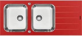 Cuba de Sobrepor Tramontina Vitra 2 Cubas em Aço Inox e Vidro Temperado Vermelho 116 x 50 cm com Escorredor Bandeja e Válvula