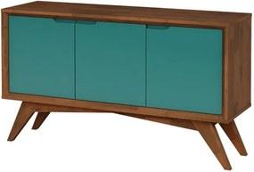 Buffet Serafim 3 Portas Pinhão e Turquesa - Wood Prime MP 27634