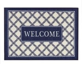 Tapete de Entrada - 50 x 70 cm - Walcome Azul e Bege - Kacyumara