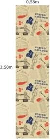 Papel De Parede Adesivo Reino Unido (0,58m x 2,50m)