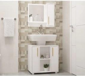Conjunto de Banheiro Easy Armário com Gabinete 2 Portas - Branco