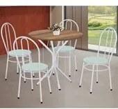 Conjunto de Mesa Tampo MDF Com 4 Cadeiras Lirio 88106 Branco Flor Verde Archeli