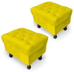 Kit 2 Puffs Retrô Luis Xv Capitonê Suede Amarelo - Amarelo