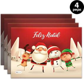 Jogo Americano Mdecore Natal Feliz Natal 40x28 cm Vermelho4pçs