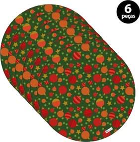 Sousplat Mdecore Natal Bolas de Natal 32x32cm Verde 6pçs