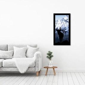 Quadro Alto Relevo Alce Montanhas Azul e Branco40x75cm