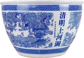 Cachepot Porcelana Chinoiserie Azul e Branco D55cm x A34cm