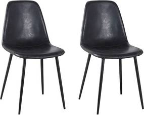 Kit 2 Cadeira Decorativa Sala e Escritorio Base Preta Emotion PU Preta Vintage- Gran Belo