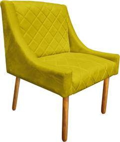 Poltrona Decorativa Paris Suede Amarelo  - D'Rossi