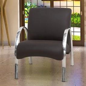 Poltrona Decorativa Polly com Pés Em Aluminio - Courino Marrom