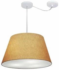 Lustre Pendente Cone Com Desvio Md-4283 Cúpula 30/35x50cm Palha - Bivolt
