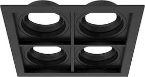 Plafon Embutir Quádruplo Alumínio Preto Ar70 Gu10 Quadra