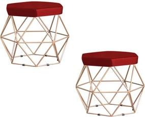 Kit 2 Puff Decorativo Base Gold Elsa Suede Vermelho - Gran Belo
