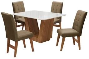Conjunto Mesa de Jantar Safira com 04 Cadeiras Agata 135cm Cedro/Branco Off/Castor - ADJ DECOR