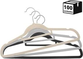 Kit 100 Cabides De Veludo Modelo Tradicional com Suporte 22x41cm