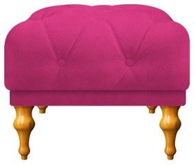 Puff Decorativo Dani Pés Provençais Suede Pink - ADJ Decor