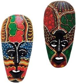 Máscaras Lombok em Madeira 18cm