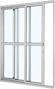Porta de Alumínio de Correr Alumifort Branca com Divisão Central 3 Folhas Abertura Esquerda 216x160x12,5 - Sasazaki - Sasazaki