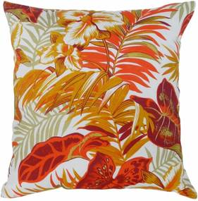 Capa de Almofada Decorativa Floral Laranja Vermelho 45x45cm