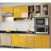 Cozinha Modulada Sicilia 07 Modulos Argila Amarelo Multimoveis
