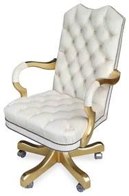 Poltrona Giratória Luxo Capitonê Pintura Folha de Ouro Ajuste de Altura e Relax Design Clássico