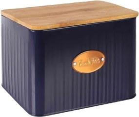 Porta Biscoitos de Metal e Madeira Azul