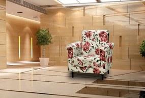Poltrona Decorativa Betina - Floral vermelho