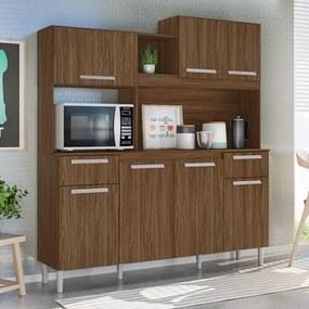 Kit Cozinha Compacta Lages 7 Portas Castanho Tannat - Moval