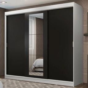 Guarda-Roupa Casal Madesa Kansas 3 Portas de Correr com Espelho 3 Gavetas Branco/Preto Cor:Branco/Preto