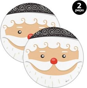 Capa para Sousplat Mdecore Natal Papai Noel Branco2pçs