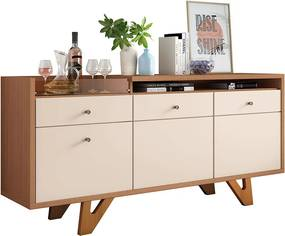 Buffet Aparador Decorativo Noeli Com Bandeja Lateral Estilo Bar Off White / Nature - Gran Belo