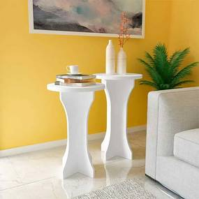 Conjunto de Mesas de Canto Kerpen 100% MDF 39cm Branco