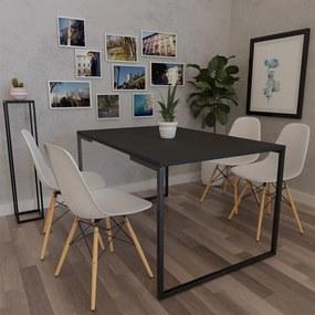 Mesa de Jantar Veneza Industrial Preto F01 com 04 Cadeiras Eiffel Charles Eames Branco - ADJ DECOR