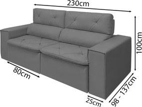 Sofá Aubanni Retrátil e Reclinável Diversas Cores 230cm-MARROM