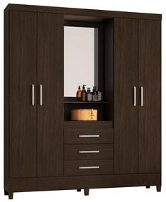 Guarda-Roupa Ester D01 4 Portas com Espelho Ébano Touch - ADJ DECOR