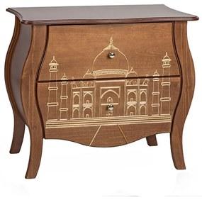 Cômoda Bombê Entalhada 2 Gavetas Plana Taj Mahal - Wood Prime FS 845361
