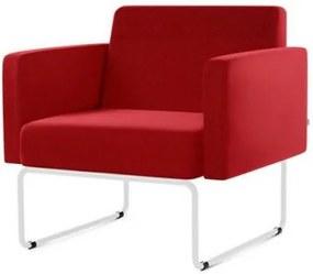 Poltrona Pix Assento Courino Vermelho Base Aco Branco - 55044 Sun House
