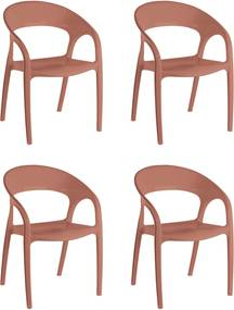 4 Cadeiras Glass Plus Terracota Solido De Plástico UZ Kappesberg Marrom