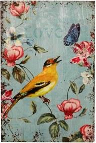 Placa Decorativa de Madeira Bird