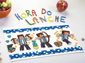 Toalha de Lancheira Infantil Estampada Authentic Games 24 cm x 42 cm Com 12 peças Lepper Azul-Marinho