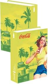 Book Box Coca-Cola Pin Up Brown Lady Amarelo em Madeira - Urban
