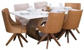 Conjunto Sala de Jantar Mesa Design com 6 Cadeiras Mirage Giratória - Wood Prime 44664