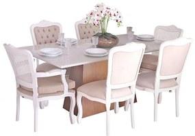 Conjunto Sala de Jantar Mesa Bonnie com 4 Cadeiras e 2 Poltronas Luix XV Branco  - Wood Prime 38715