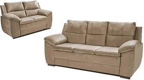 Conjunto De Sofá Com Fibra No Encosto Apogeu 3 E 2 Lugares Tecido Suede Bege - Umaflex