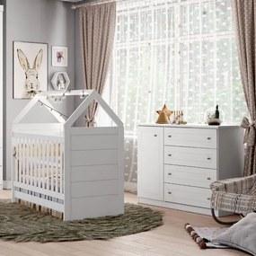 Quarto de Bebê Americano Berço Mini Cama e Cômoda 4 Gavetas  - Branco