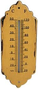Termômetro Antique Edges Amarelo em Ferro - Urban - 25,5x10,5 cm