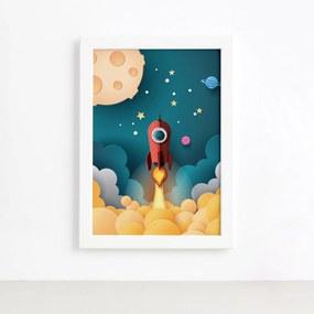 Quadro Astronauta Foguete Vermelho Moldura Branca 33x43cm