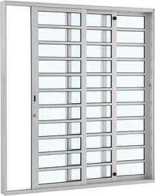 Porta de Alumínio de Correr Alumifort Branca com Divisão 3 Folhas Abertura Direita 216x200x12 - Sasazaki - Sasazaki