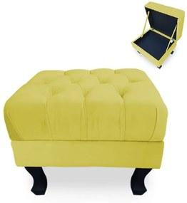 Puff Baú Decorativo Capitonê Luis XV 40x50cm Suede Amarelo - Sheep Estofados - Amarelo